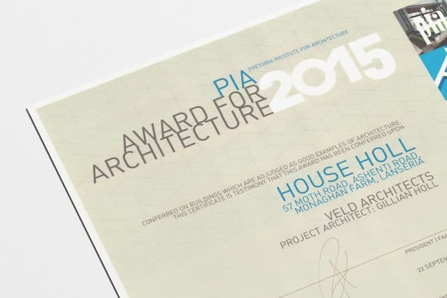 Veld Architects - PIA Award for Architecture 2015